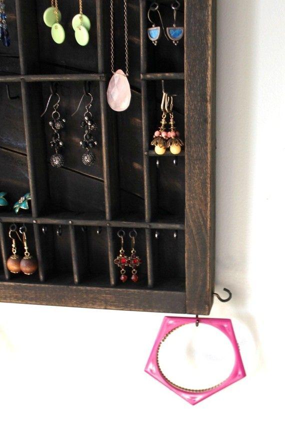 Upcycled Wall hanging Antique Jewelry Organizer Organizing