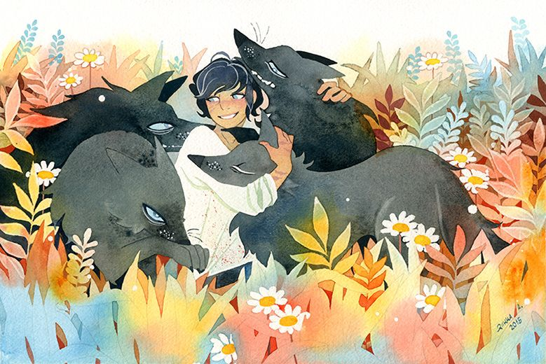 Riikka Auvinen  http://tir-ri.tumblr.com/post/112136245713/young-pup-mahr-with-his-very-cuddly-pack-of-big