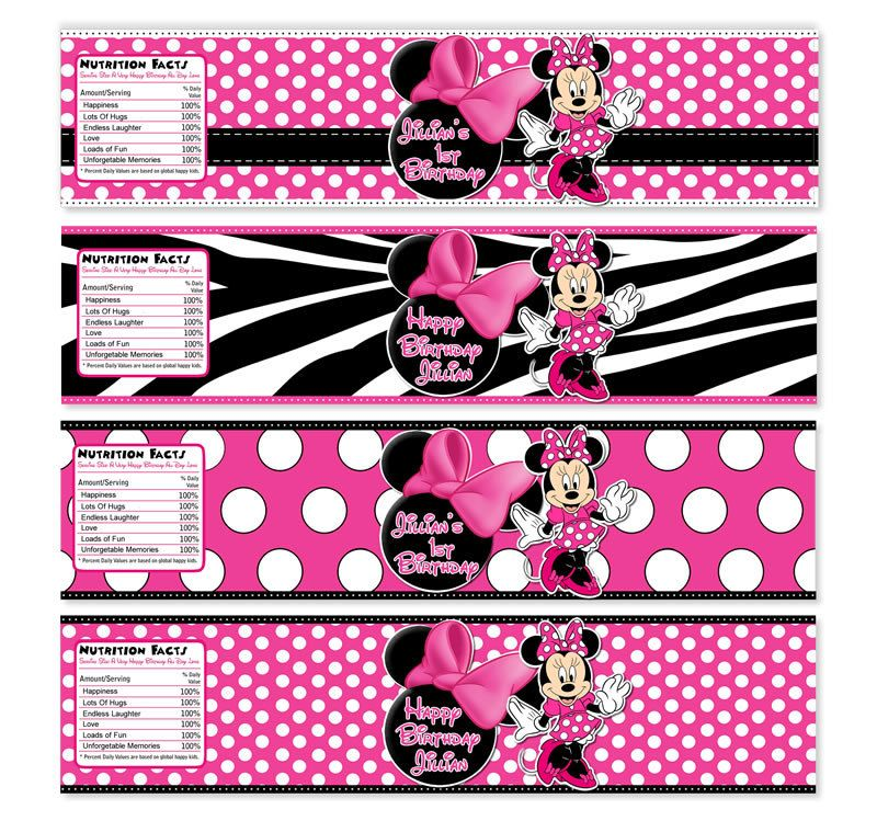 Minnie Mouse Zebra Print Baby Shower: YOU CHOOSE Minnie Mouse Water Bottle Labels
