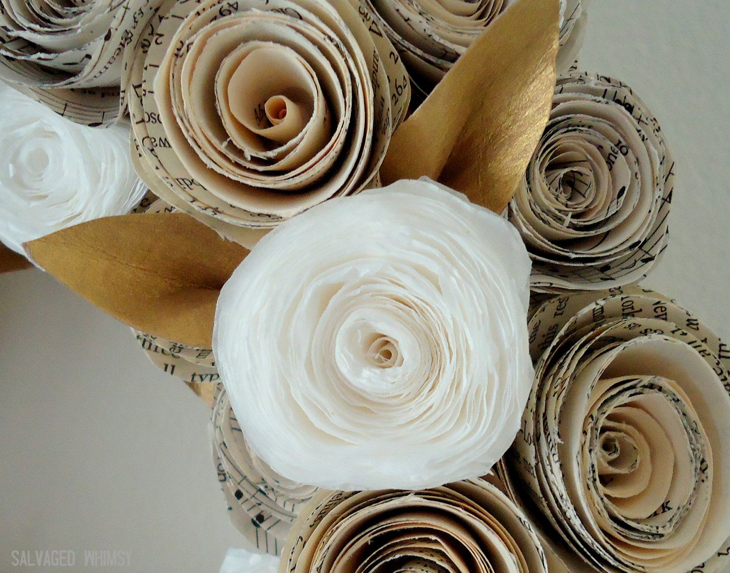 10 Book Page And Coffee Filter Rolled Paper Flower Wreath 3600