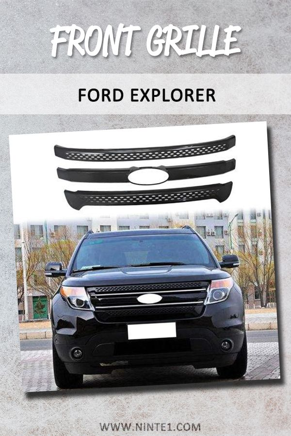 Ninte Ford Explorer 2011-2015 Gloss Black 3 Bars Snap On Front grill Covers