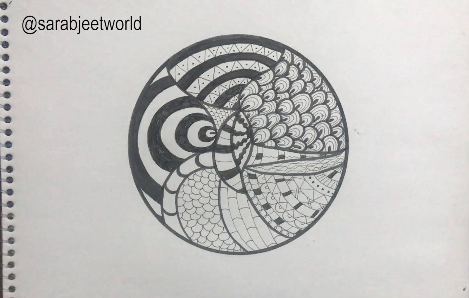 Follow My Youtube Channel For Best Zentangle Doodle Mandala Tutorials Firanmgi Pirates Zentangle Doodl Drawing For Beginners Zentangle Tutorial Zentangle