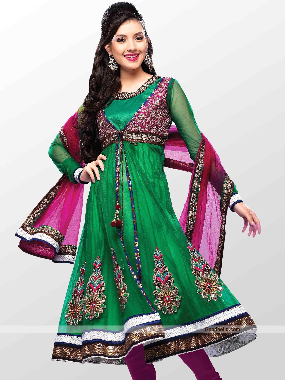 Salwar Kameez:R31P17 | Green Anarkali Shalwar Kameez with ...