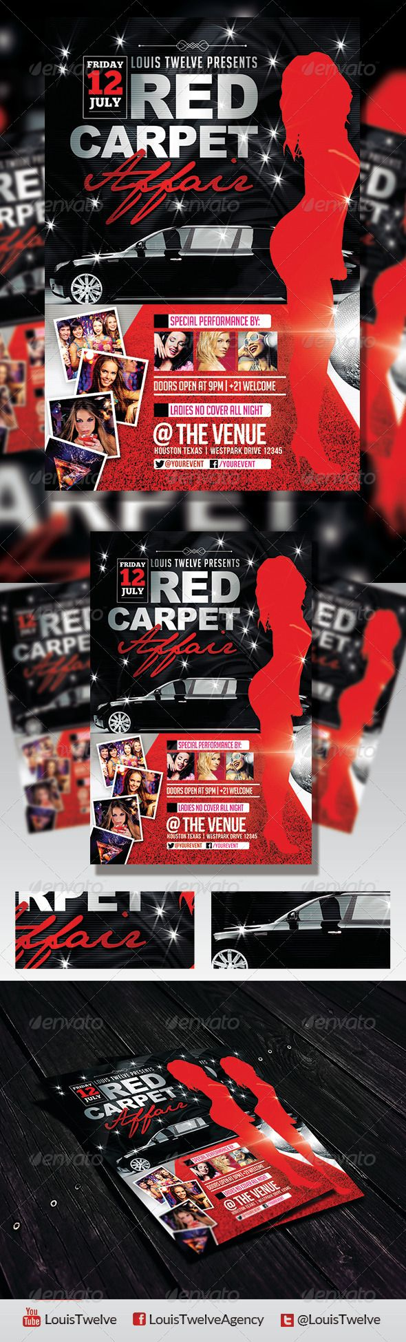 Red Carpet Affair 3 Flyer Template – Red Flyer Template