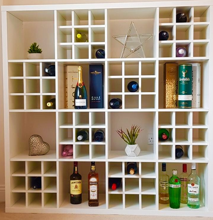 Home Bar Using Ikea Kallax And Wine Rack Inserts