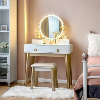 Nicol Vanity Set with Stool and Mirror