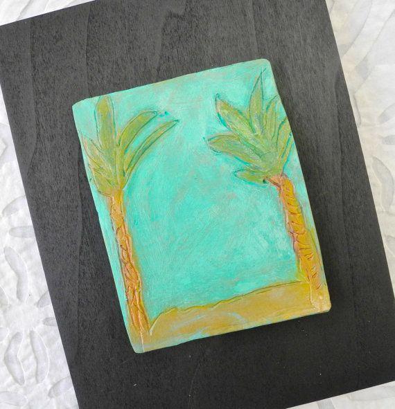 Desert Art Ceramic Art Tile Palm Tree Art Turquoise Pottery Art Ceramic Wall Art California Landscape Porcelain Wall A Desert Art Tree Art Palm Tree Art