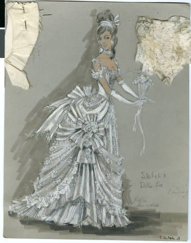 Costume design drawing, female in white gown, circa 1964