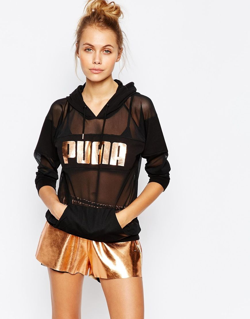 image 1 of puma oversized sheer mesh hoodie with rose gold. Black Bedroom Furniture Sets. Home Design Ideas