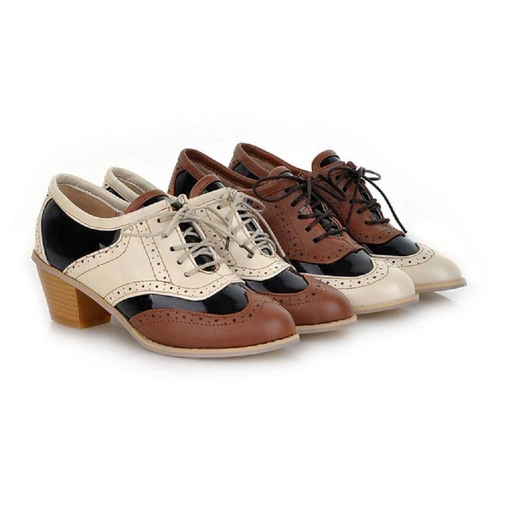 Amazon.com: Charm Foot Vintage Womens Low Heel Lace up Oxfords Shoes Casual Leather Shoes: Oxford Shoes For Women: Shoes