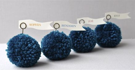 Tealturquoise yarn pom pom place holders from imeon design