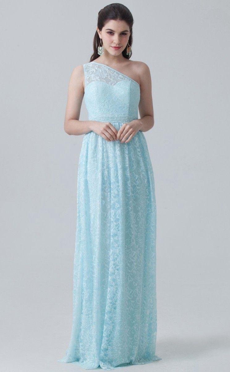Bduk light blue lace a line one shoulder long bridesmaid