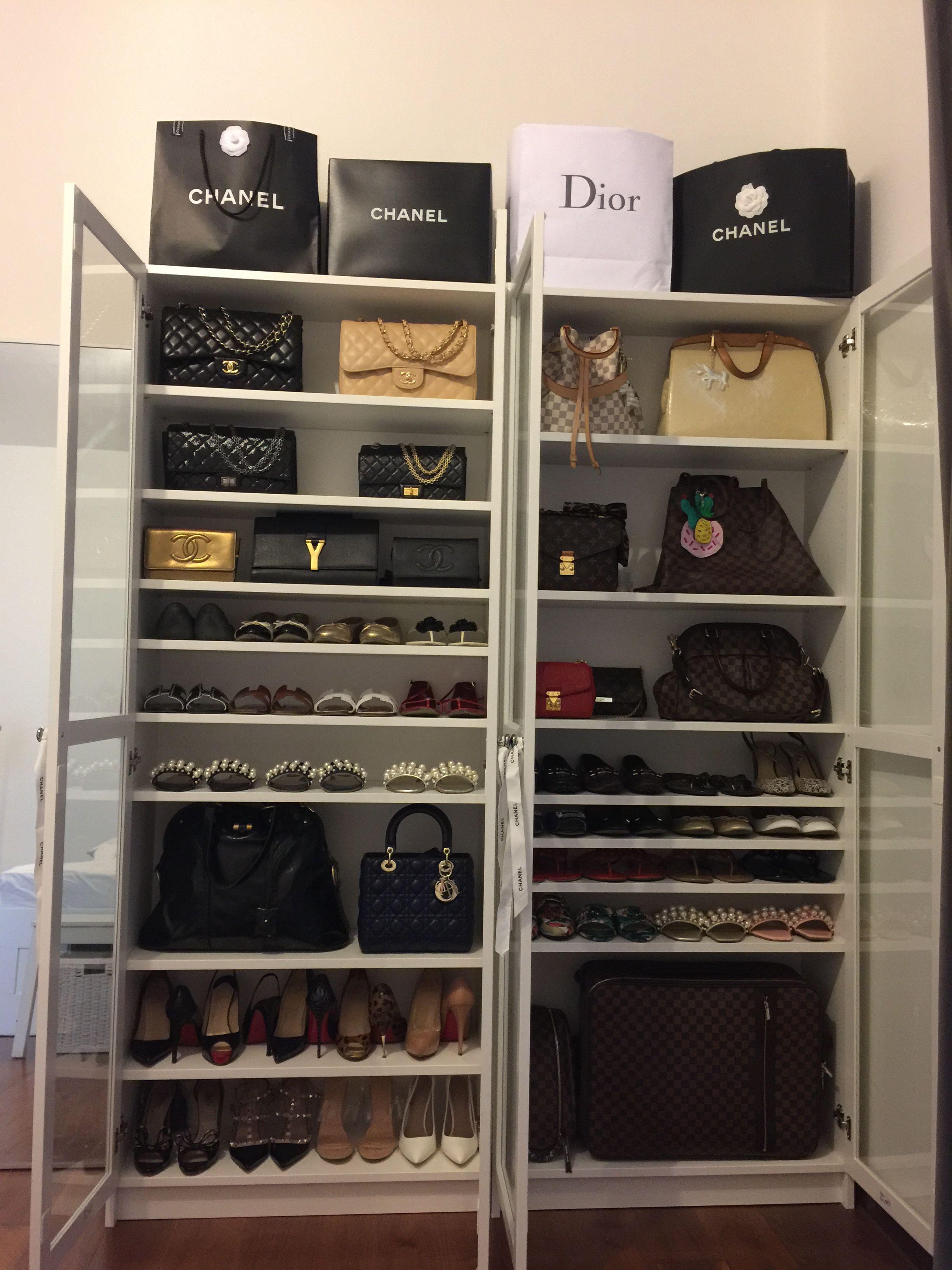 Handbag And Shoe Display Cabinet Ikeabilly Chanel Louisvuitton Toriburch Dior Valentino Ysl Hermes Sto Handbag Display Display Cabinet Closet Designs