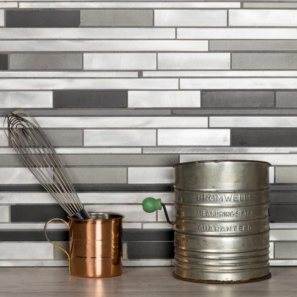 Decorative Wall Tiles Kitchen Backsplash Blissful Metal 1175 Inx 16 Inwide Linear Brushed Silver