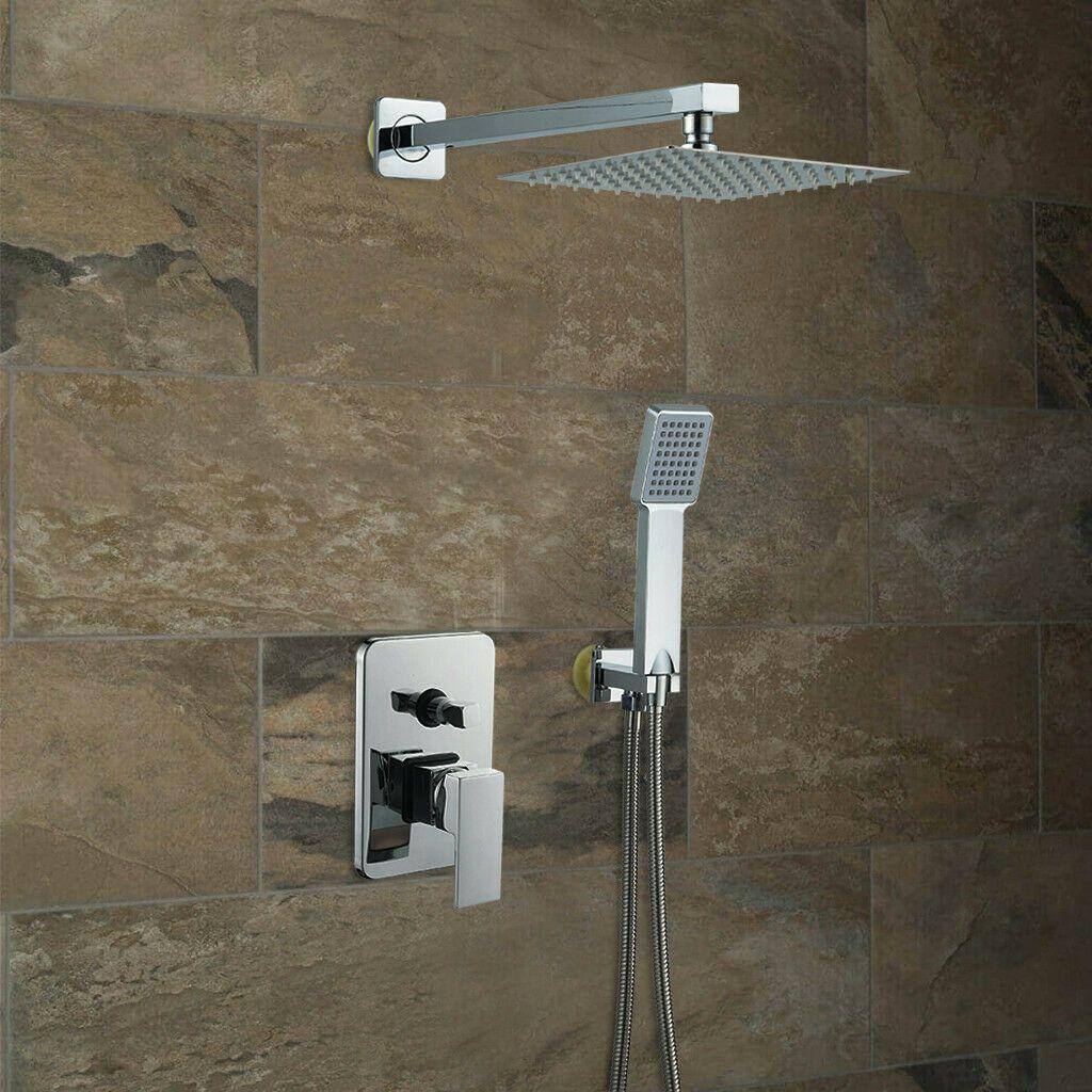 Shower Faucet System Set 8 Inch Rainfall Hand Shower Mixer Tap Us