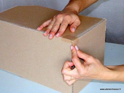 Technique Comment Krafter Vos Creations En Carton Creer Ses Meubles En Carton Carton Ondule Meuble En Carton Recyclage Carton