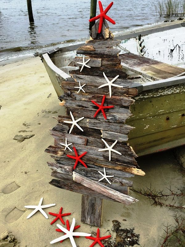 Handcrafted Coastal Holiday Tree - North Pole Nautical design
