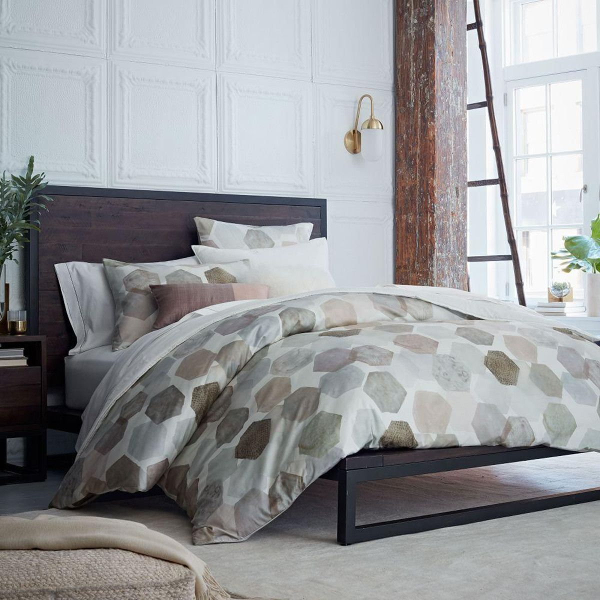Organic Geo Sateen Duvet Cover + Pillowcases | For the Home ... : sateen quilt cover - Adamdwight.com