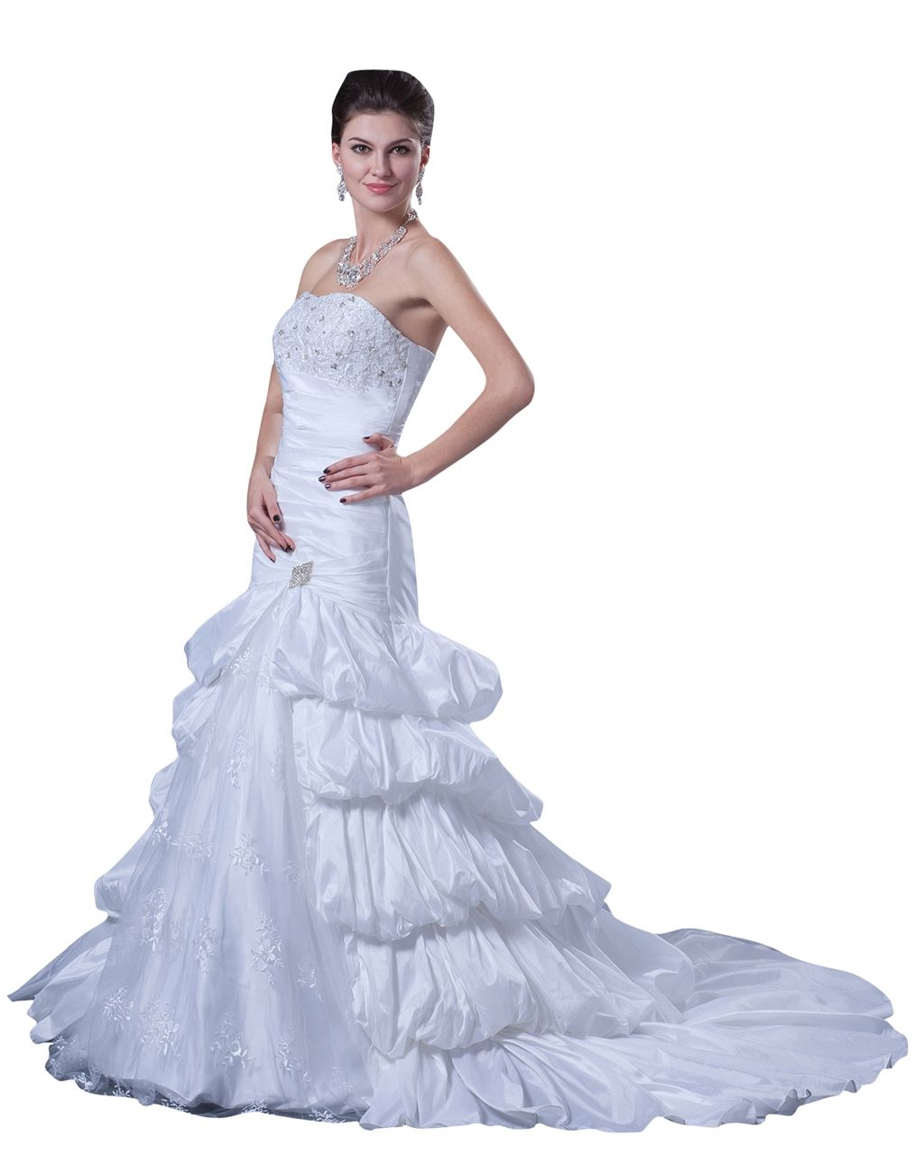 3ef14473df37 lindadress.com Offers High Quality White Taffeta Layered Skirt Strapless  Mermaid Wedding Gown With Beading,Priced At Only USD USD $220.00 (Free  Shipping)
