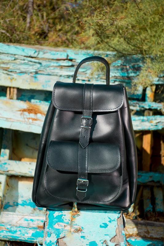 a79280e6d0 Simple backpack Leather rucksack bag Black backpack Leather ...