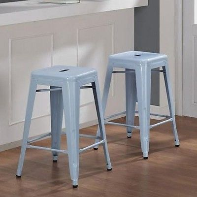 2 Bar Stools Metal 24 Kitchen Counter Stackable Barstool Modern