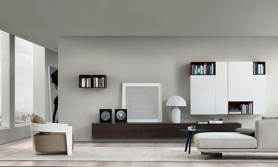 Gorgeous Wooden Wall Mounted Living Room Units Decorated Using Black And White Accessories Living Room Wall Units Living Room Units Living Room Remodel