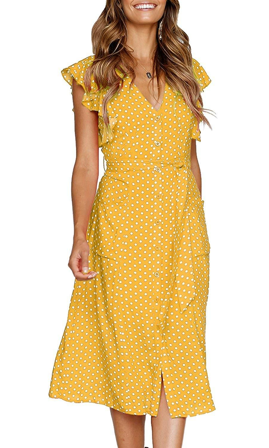 MITILLY Women s Summer Boho Polka Dot Sleeveless V Neck Swing Midi Dress  Pockets 5bab78189