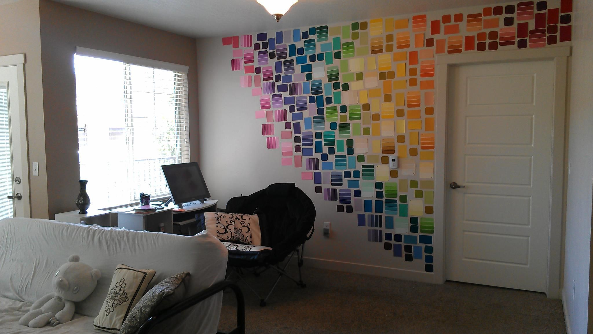 My paint sample wall from Wal Mart and Home Depot is up and looking