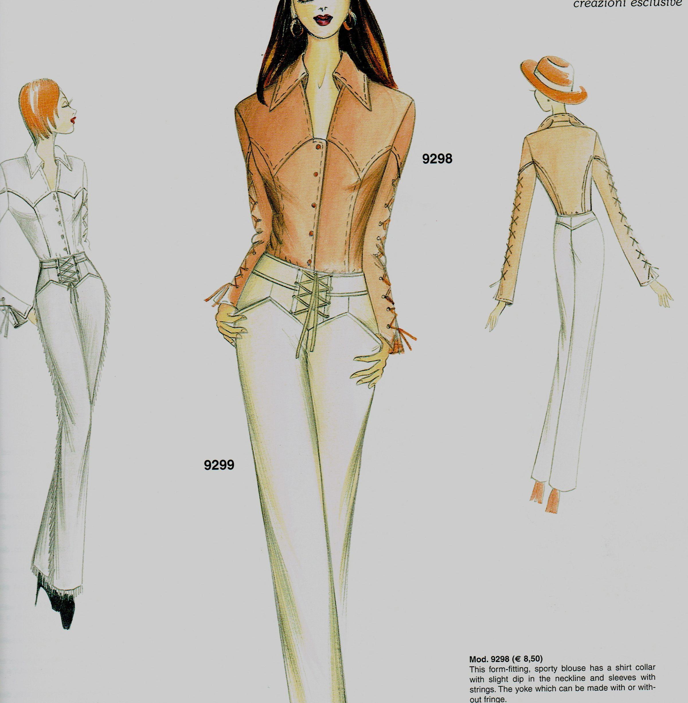 Marfy 9298 My Spaghetti Western Shirt Totally Texas Ilustracoes De Moda Desenho De Moda Modelos