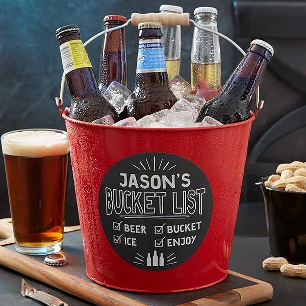 Bucket List Personalized Red Metal Beer Bucket Beer Bucket Beer Birthday Beer Gifts Basket