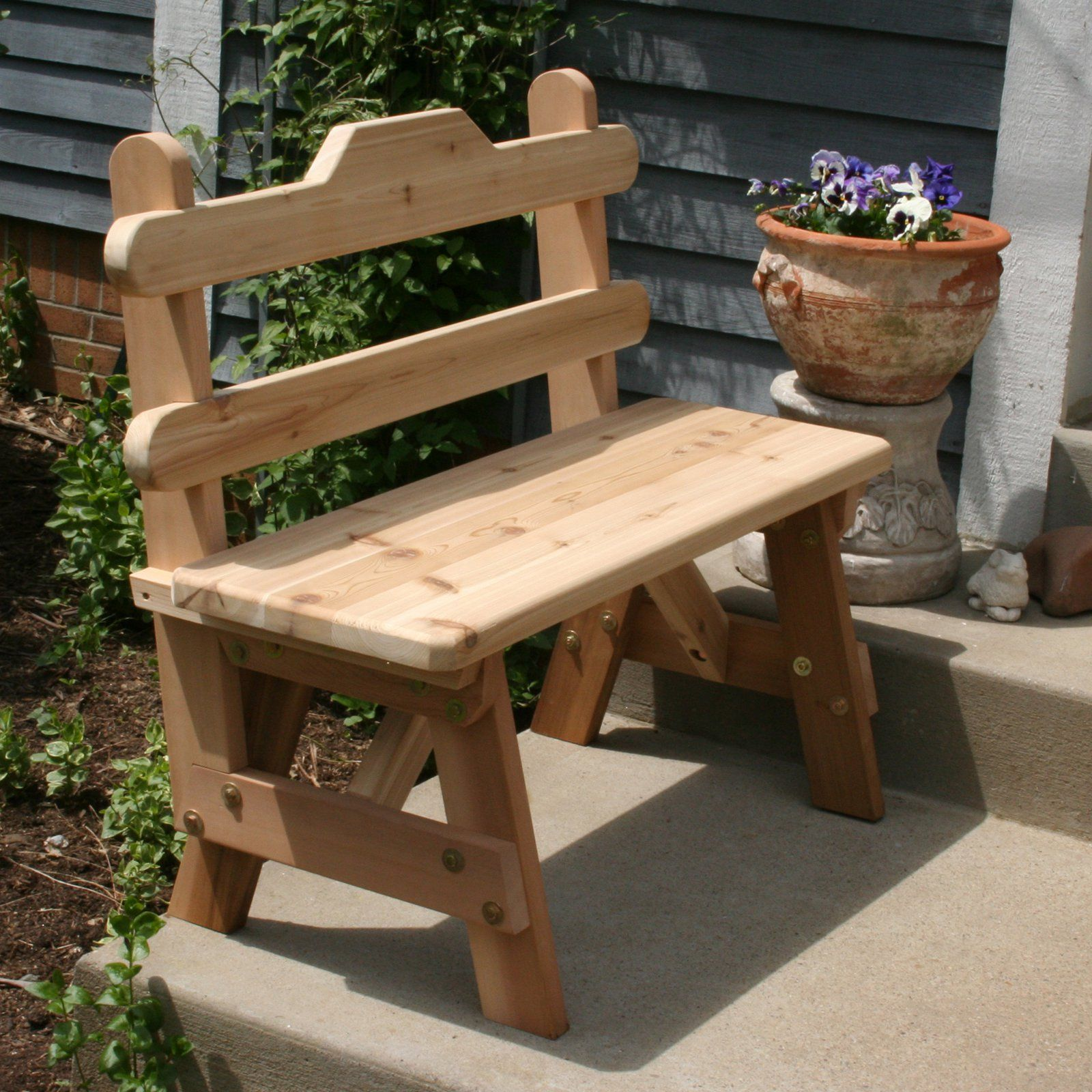 Outdoor Creekvine Designs Cedar Tab Back Garden Bench