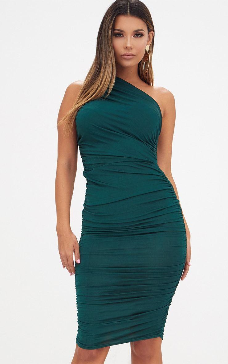 Emerald Green Slinky Ruched One Shoulder Longline Midi Dress Fashion Dresses Wedding Guest Dress [ 1180 x 740 Pixel ]