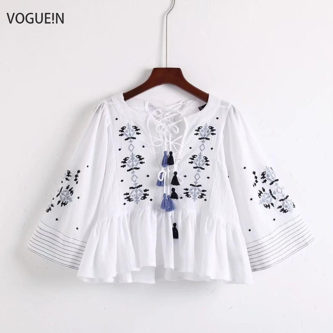 8115fdc5 VOGUEIN New Womens Floral Embroidered 3/4 Sleeve Sexy Tie Tassels Pullover Blouse  Short Tops
