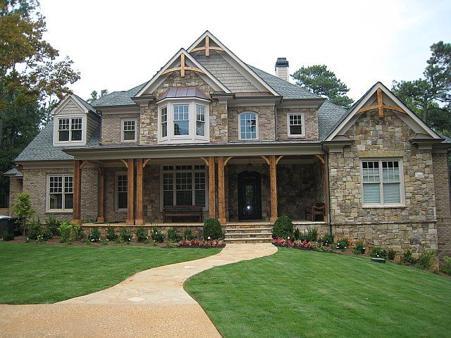 Wood And Stone House atlanta transitional residence extereriorj designs | all