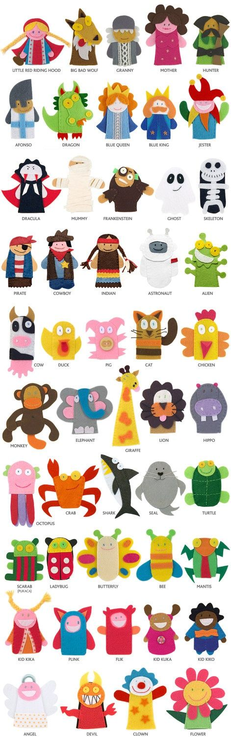 finger puppets, great ideas for hand puppets                                                                                                                                                      Más #handpuppets