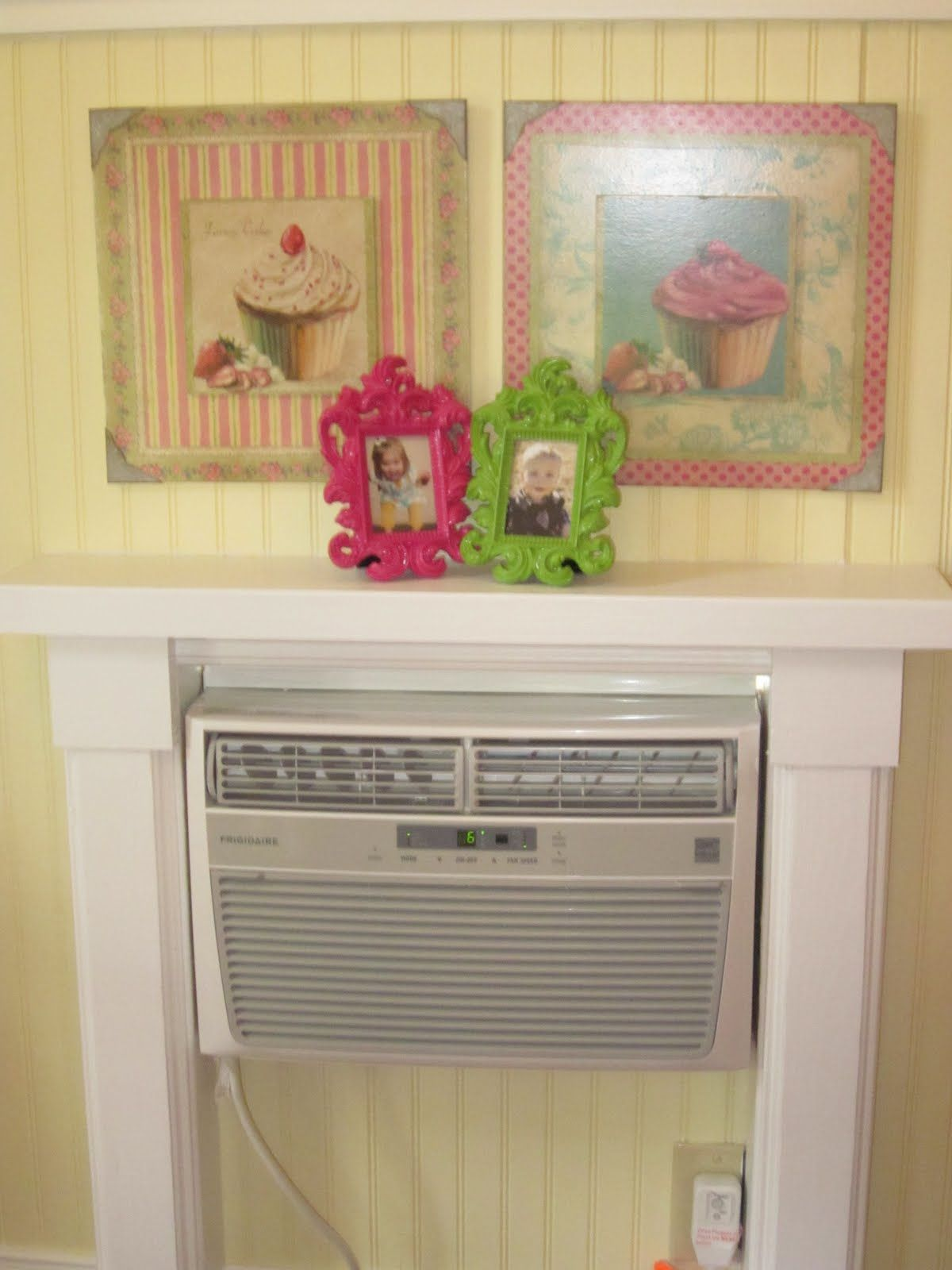 Kidkraft large pastel kitchen  Fake fire place mantle with AC unit built in  Kennedyus Outdoor