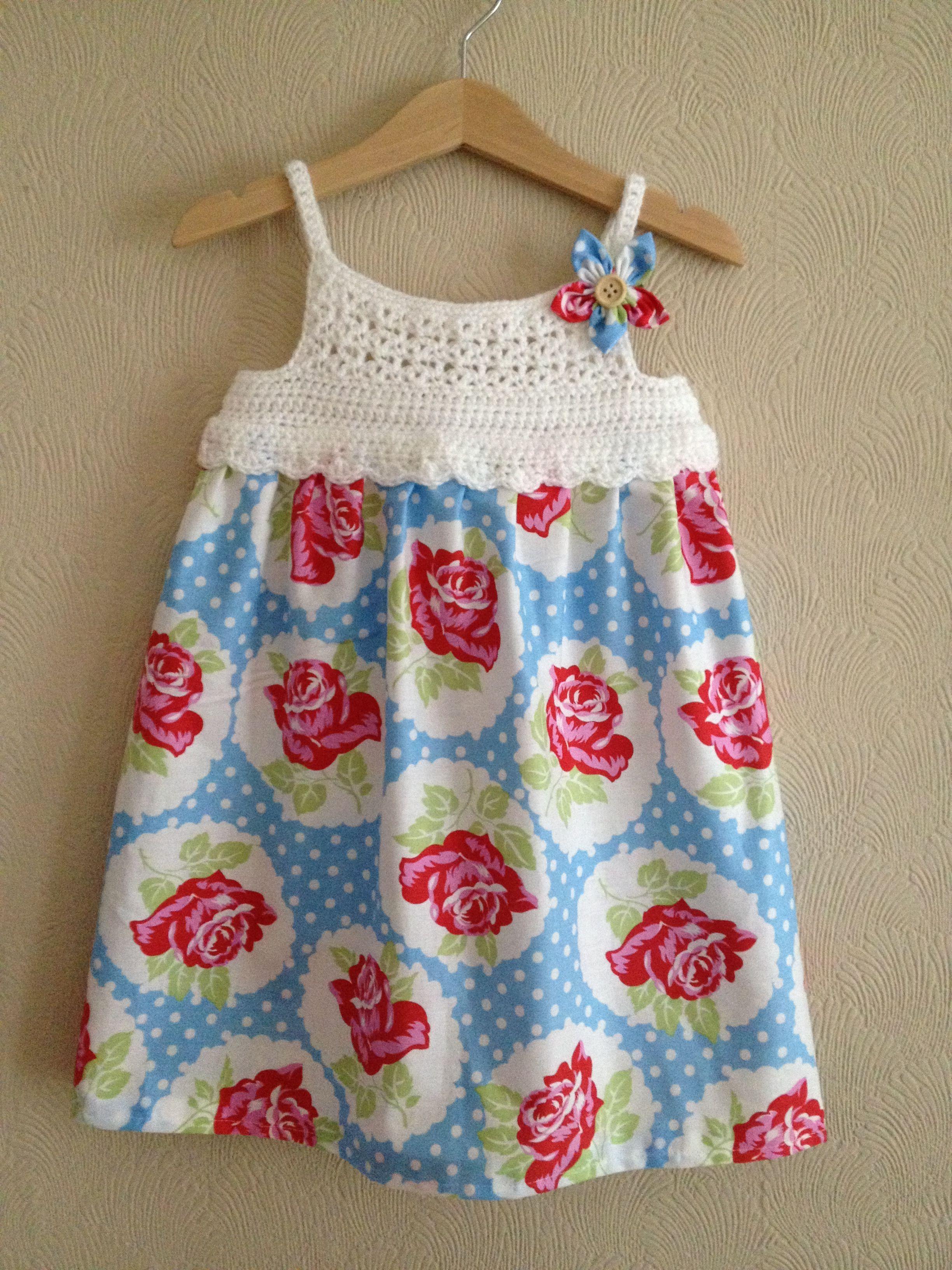 Crochet + fabric summer dress :)   Ropa bebe crochet   Pinterest ...
