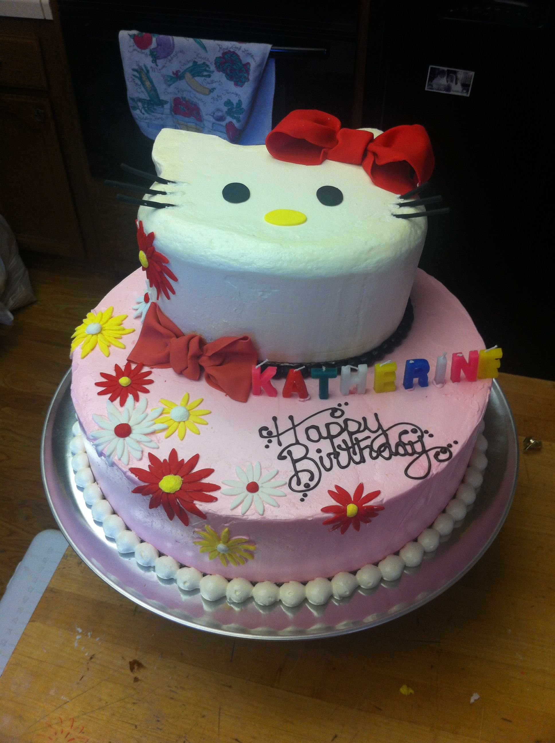2 Tier Hello Kitty Birthday Cake Buttercream Fondant Pink Red