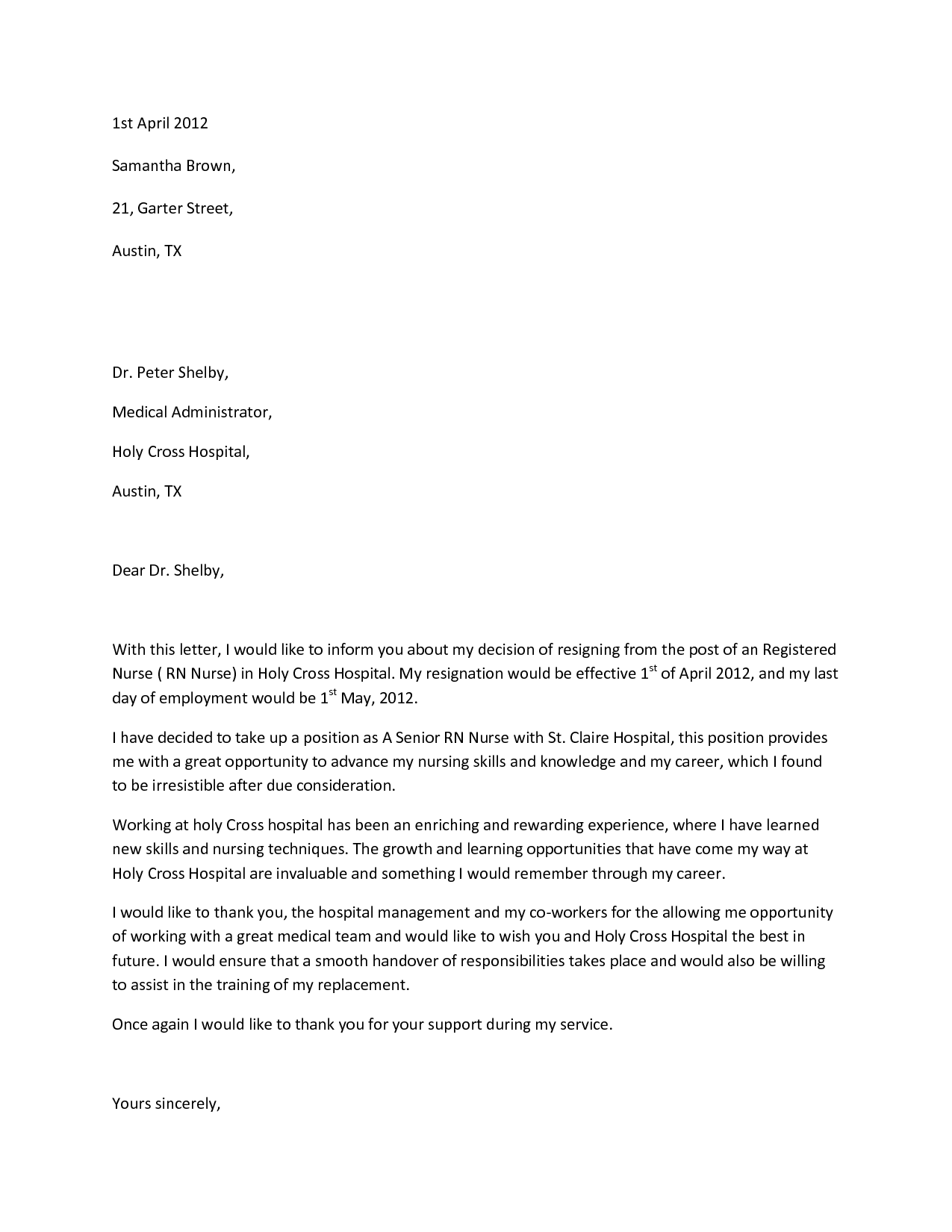 Sample resignation letterwriting a letter of resignation for Future opportunities cover letter