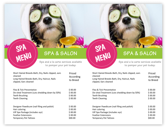 Grooming Spa Menu Template  Doggy Day Care Ideas