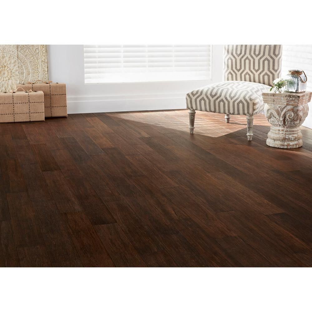 Home Decorators Collection Wire Brushed Strand Woven Cocoa Bean 3 8 In T X 5 1 5 In W X 36 02 In L Engineered Click Bamboo Flooring Hl628h Bamboo Flooring Flooring Hardwood Floors