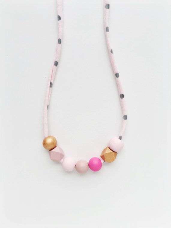 THE IDA petite handpainted wooden bead necklace by coralandcloud