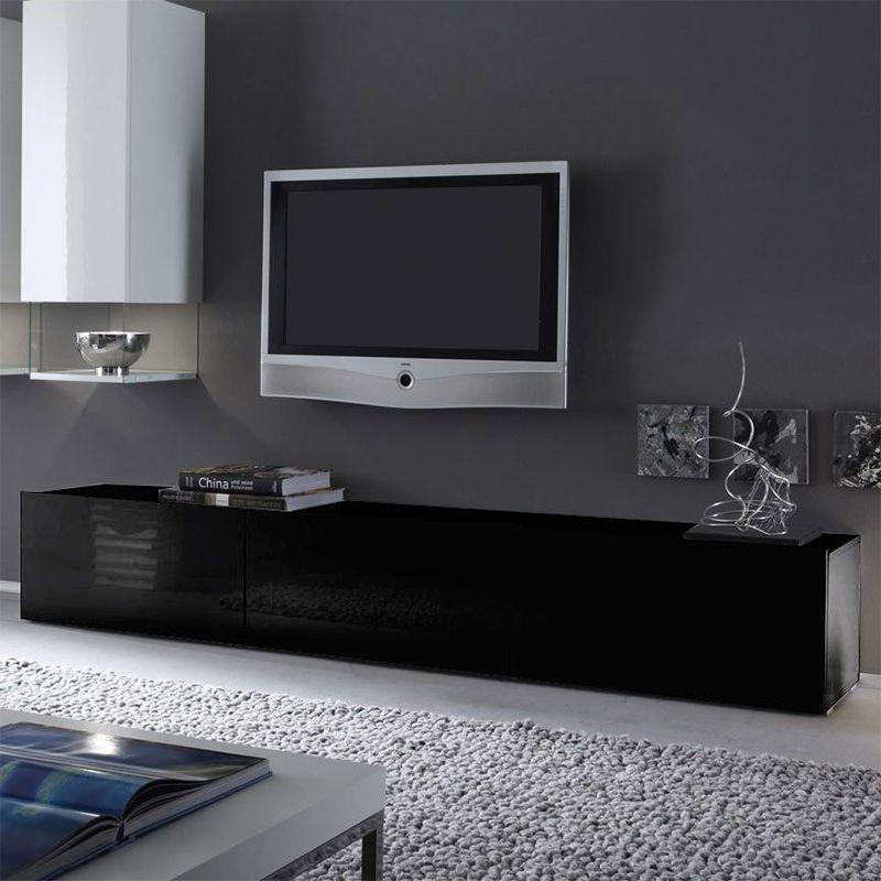 Banc Tv Noir Laque Design Foxy 2 Stue