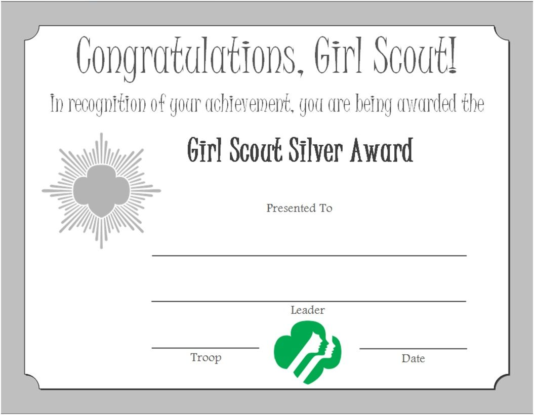 Girl Scout Silver Award Certificate | Girl Scouts | Pinterest ...