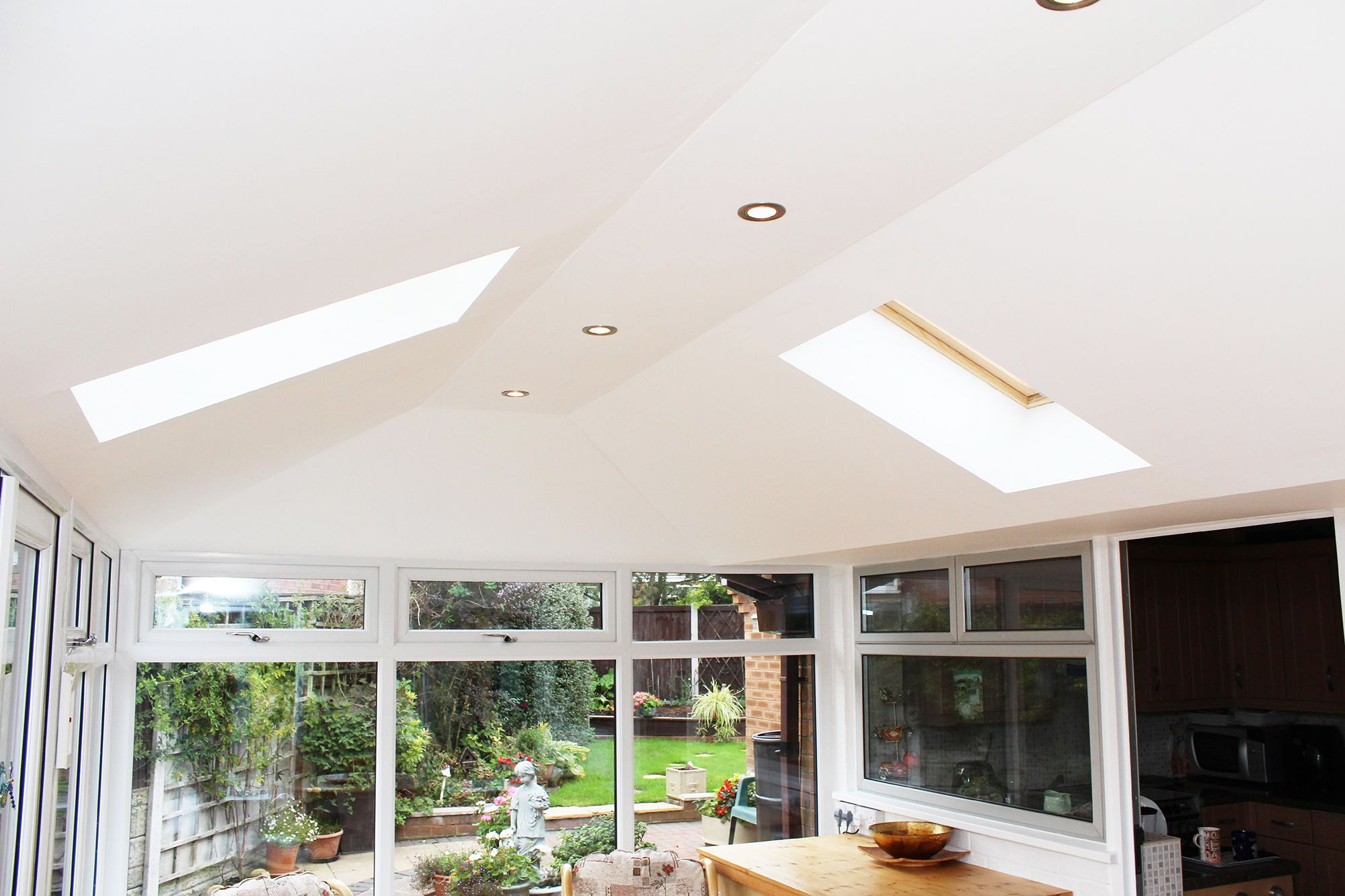 Internal View Of Supalite Tiled Conservatory Roofing System With Two High Quality Dekea Roof Vents Installed Ontop Of Whi Roofing Systems Roofing Conservatory