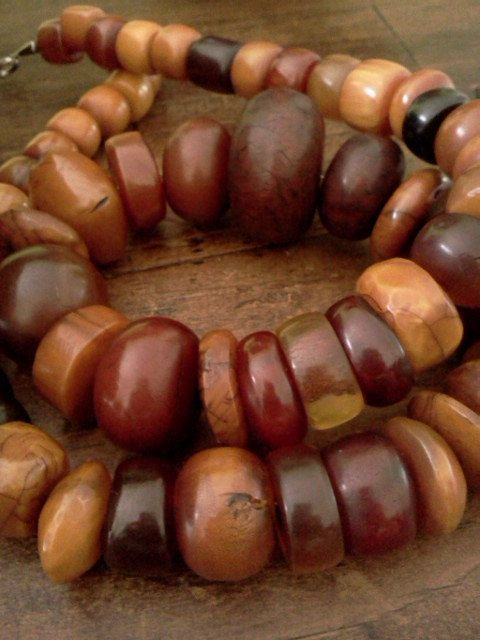 Big India Store Wooden Beaded Necklace Hand Made Rare find Only Two Available!