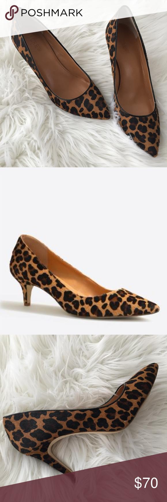 J Crew Esme Leopard Calf Hair Kitten Heels Kitten Heels Heels Calf Hair
