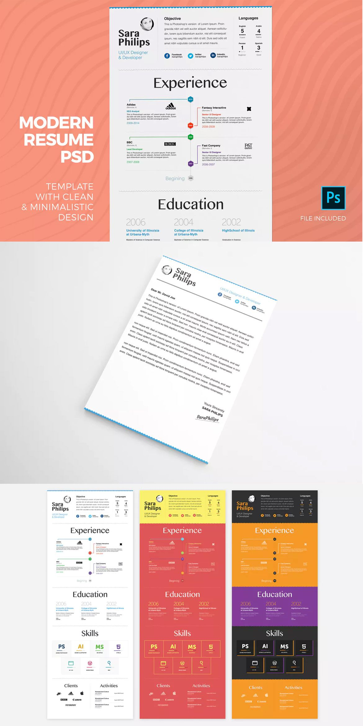 Premium Resume u0026 Cover Letter Template PSD