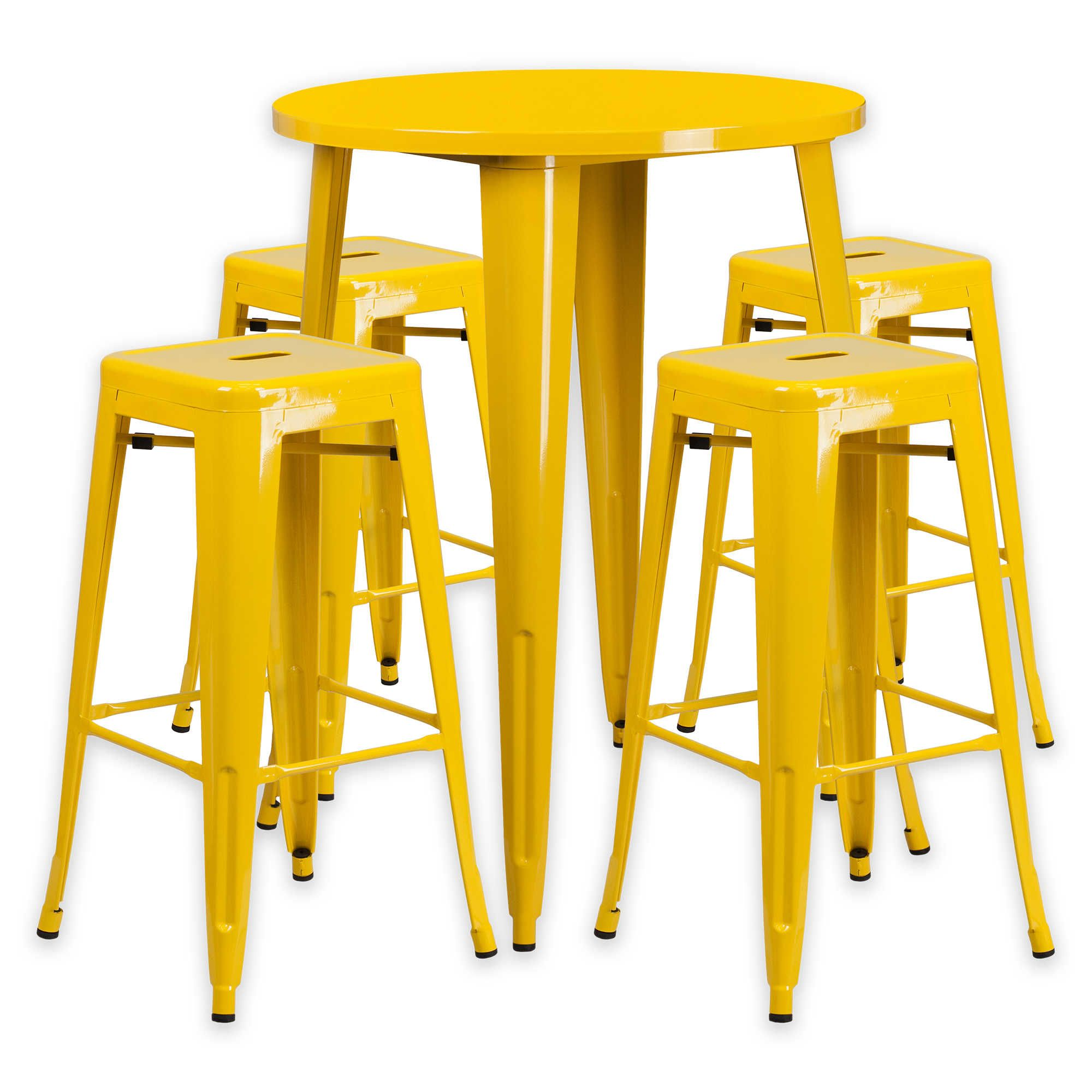 Flash Furniture 5 Piece 30 Inch Round Metal Bar Table And
