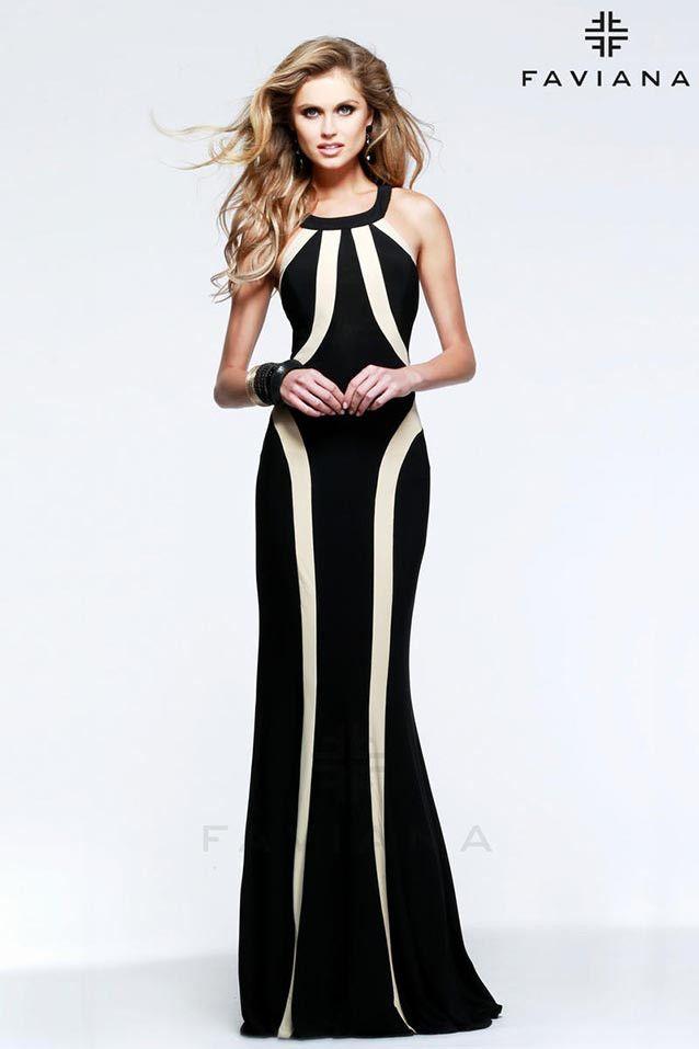 Vestido de fiesta con cuello halter modelo 7573 by Faviana ...